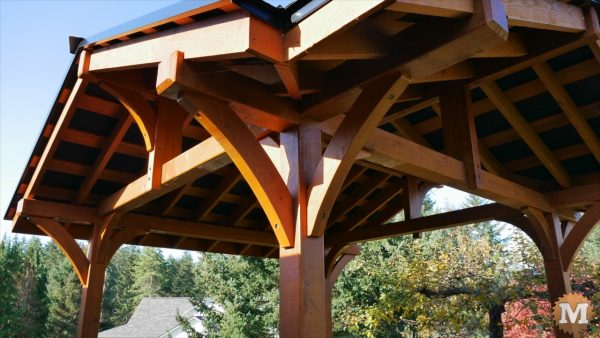 detail and underside of roof and rafters of the Three Gable Timber Frame style Pavilion