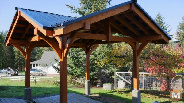 Three Gable Timber Frame Pavilion with black metal roof and trim