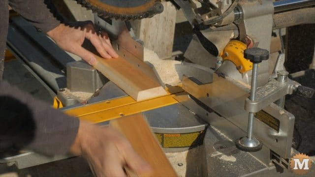 Cutting the inset to length at 30 degrees on the miter saw