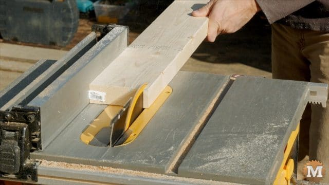 Ripping sides on the table saw