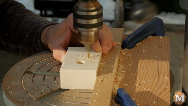 "One of the End blocks is drilled for the peg dowel and assembly holes drilled with a 1/8"" bit"