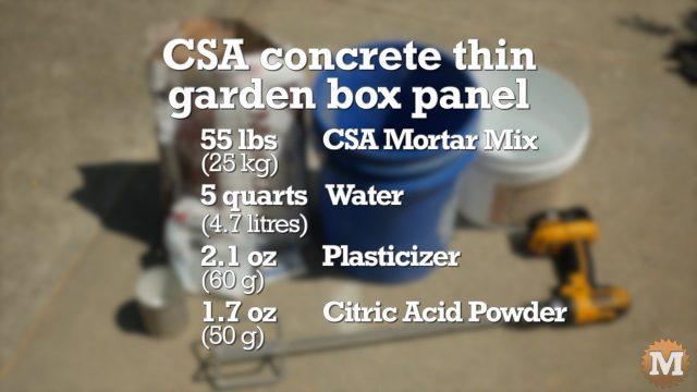 CSA Concrete Garden Box formula