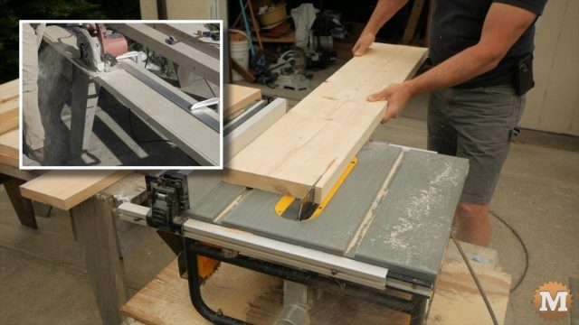 ripping the wood base on the table saw
