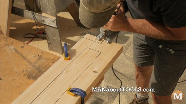 using a jigsaw to cut the notch in the lightweight concrete form base