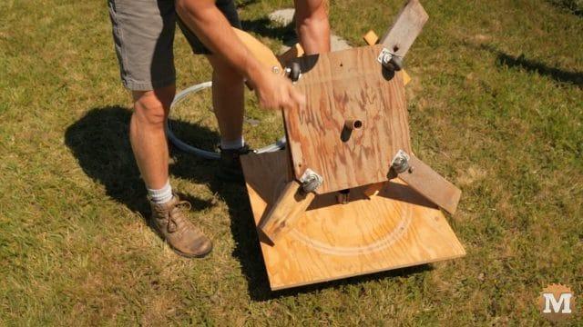 Castor wheels on hand-made spinning jenny