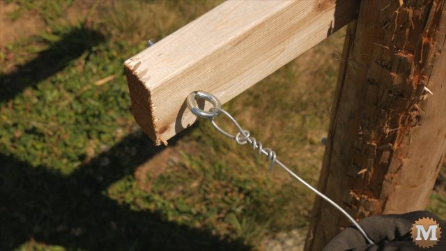 Tied trellis wire onto eye bolt