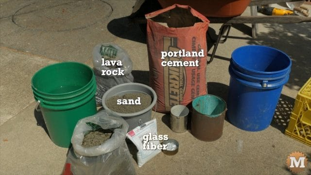 Ingredients for the Lava Rock Concrete Tests