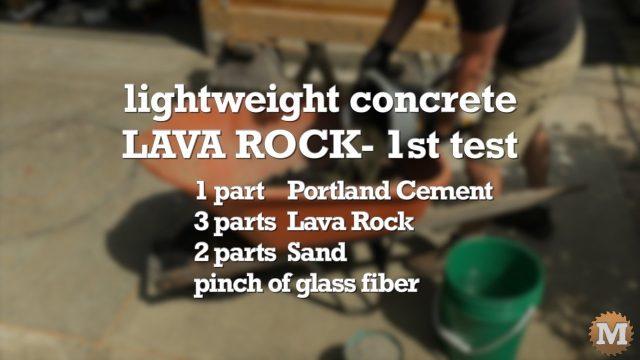 Lava Rock Concrete - 1st Test