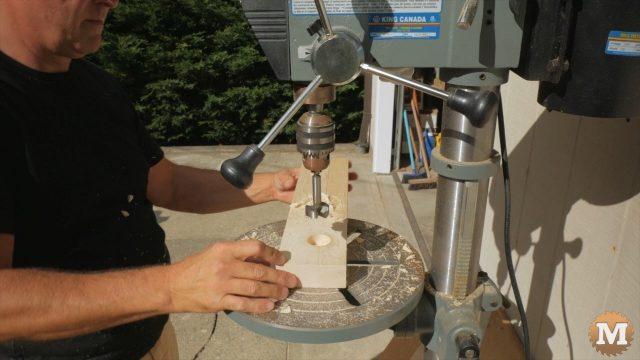 Counterboring bolt block on drill press