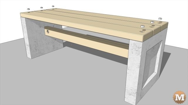 Animated assembly of the outdoor concrete and wood garden bench