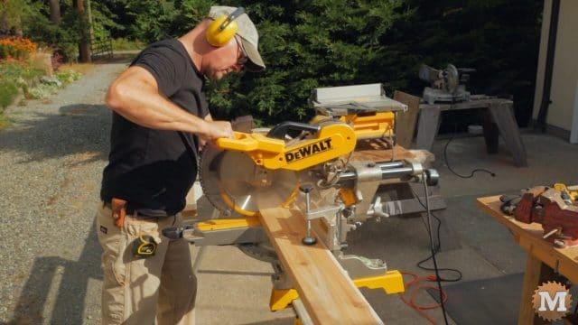 Cutting cedar seat planks to length
