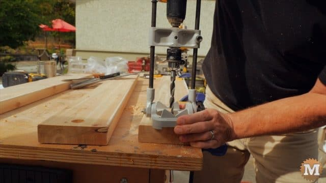 Using a drill guide ant forstner bit