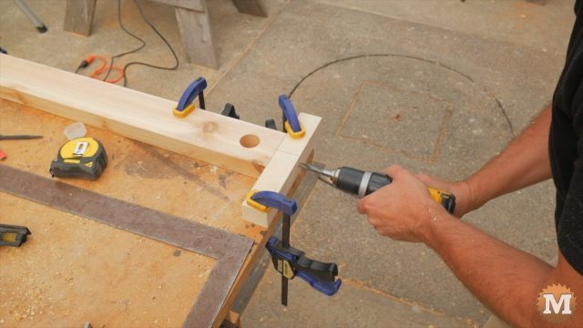 Drilling into end grain of stretcher with a drill guide