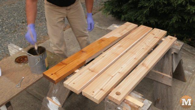 Staining red cedar