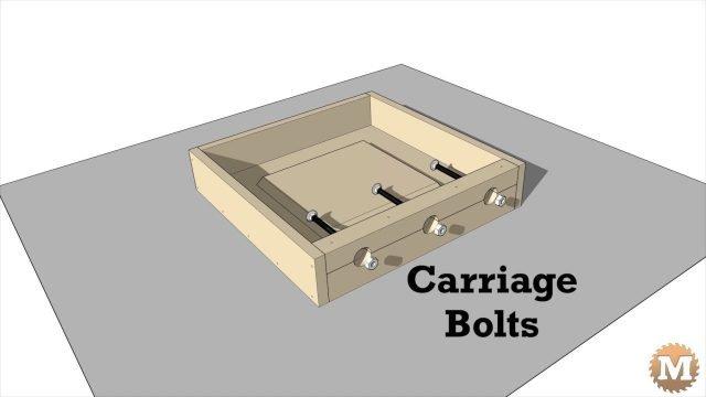 Concrete Garden Bench - carriage bolts sit in bolt block