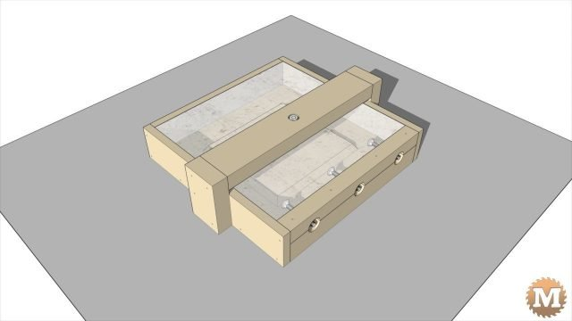Animated assembly of the outdoor CSA concrete and wood garden bench