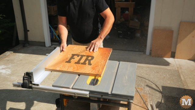 Ripping plywood for the base