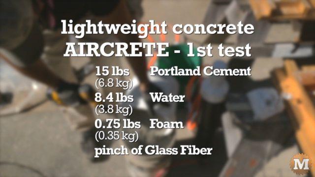 Formula for making aircrete