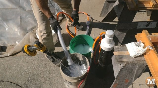 Adding foam to the pail