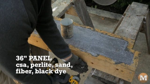 "36"" black dyed CSA perlite panel being stripped from form after solidifying - Lightweight Perlite Concrete garden panels"