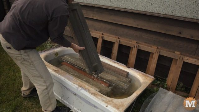 Curing concrete in a water tank (bathtub)