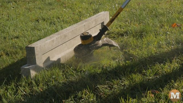 Weed Whacker durability test against concrete edging