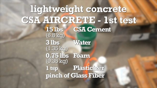 Formula to make CSA Aircrete