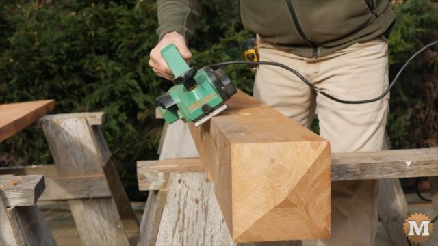 Chamfering the beams and posts with a power plane