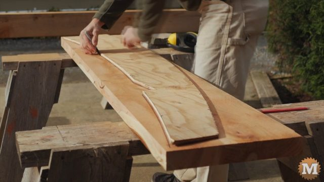 Tracing the pattern on the cedar rafter blank