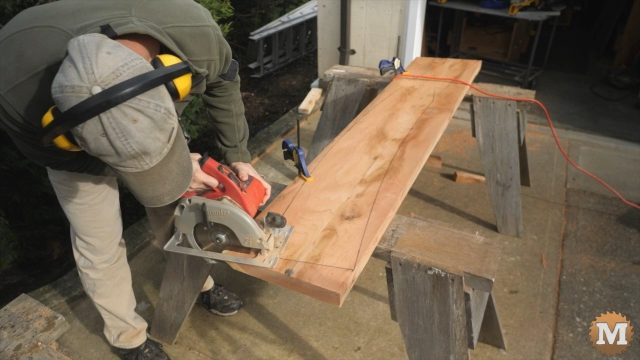Cutting each end of the rafter