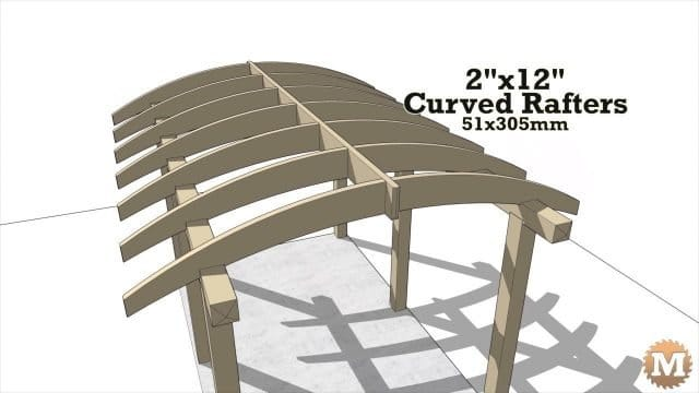 Curved pergola rafters