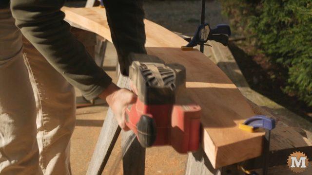 Belt sanding the edge smooth