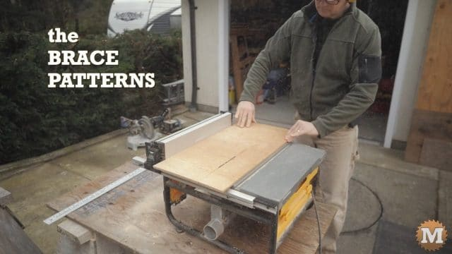 Ripping the thin plywood to make brace patterns