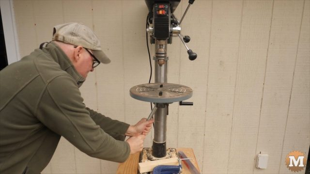 Setting the table of my drill press at a 20 degree tilt