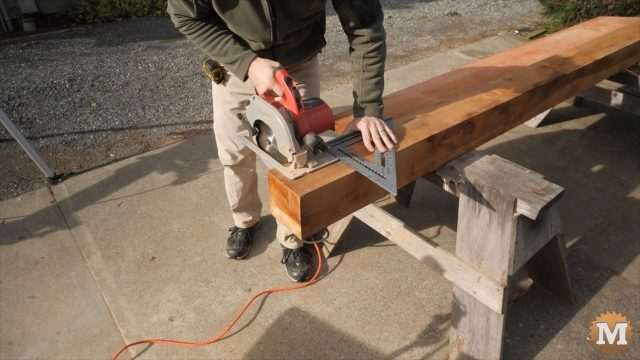 Using a circular saw to cut beams
