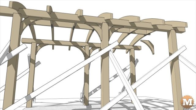 Side view of the pergola with bracing flying in