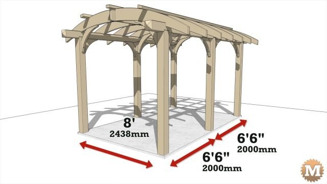 Animation of a cedar pergola designed with curved rafters and curved corner braces