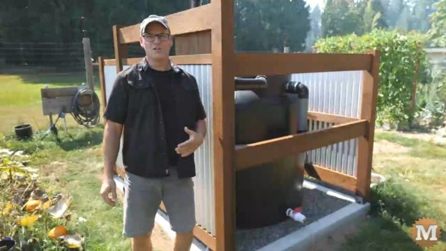 Off-Grid Rainwater Harvesting Tank in the garden