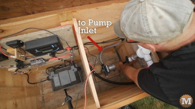 connecting RV DC water pump inlet to line from rainwater tank