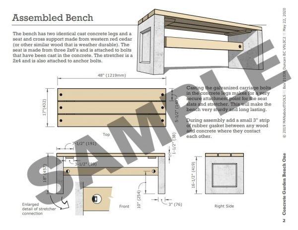 Concrete Garden Bench One 06